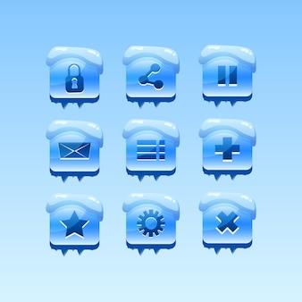 Sammlungssatz des wintersymbolsymbols mit dem einfrieren des eises und der schneebedeckten beschaffenheit für spiel-ui-asset-elemente