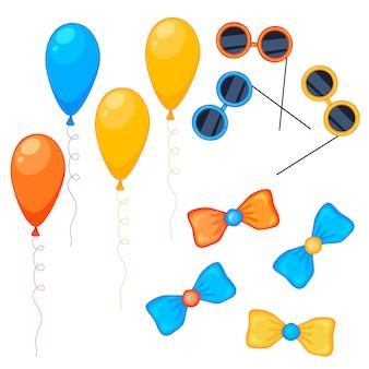 Sammlungssatz für luftballons, gläser und bögen