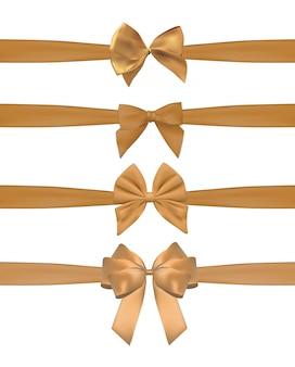 Sammlungssatz goldene bögen mit dem horizontalen band lokalisiert auf weiß.
