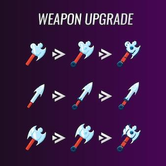 Sammlungssatz von gui-waffen-upgrades für game-ui-asset-elemente