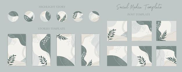 Sammlungssatz von hand gezeichneten abstrakten organischen form social media post geschichten und hervorhebungssymbol vorlage