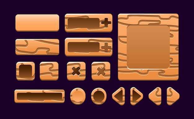Sammlungssatz von holzspiel-ui-rahmenvorlage popup-oberfläche für gui-asset-elemente