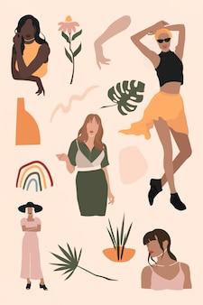 Sammlungsvektor für weibliche social-media-influencer