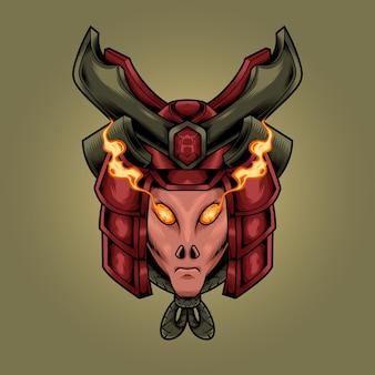 Samurai alien head illustration