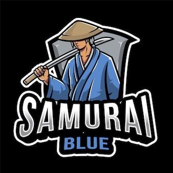 Samurai blue esport logo vorlage