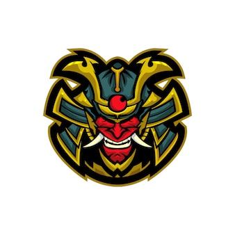 Samurai-dämonen-maskottchen