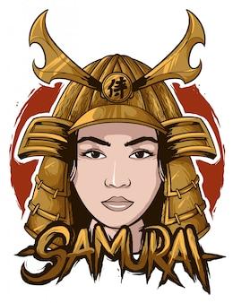 Samurai frau gesicht kopf basic rgb