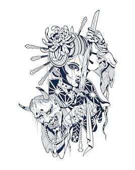 Samurai-frau mit abgetrenntem dämonenkopf