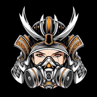 Samurai-frauen tragen eine atemschutzmaske