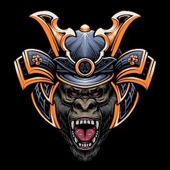 Samurai gorilla kopf illustration design