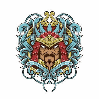 Samurai gravurartillustration
