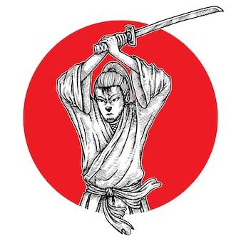 Samurai hält katana, handgezeichnet