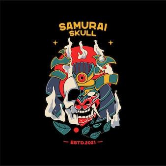 Samurai helm illustrationen mit totenkopf