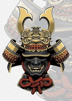 Samurai-helm mit drachengesichtszubehör