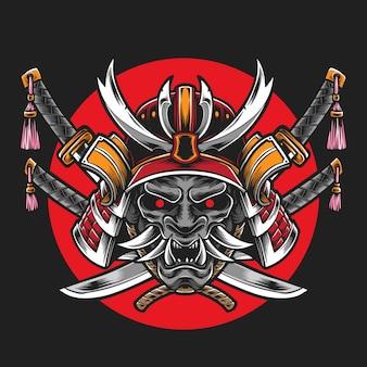 Samurai-helm mit katana-schwert