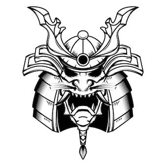 Samurai-helmillustration auf weißem hintergrund. element für logo, etikett, emblem, zeichen. illustration