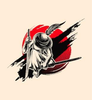 Samurai-illustration, schwertkämpfer mit hut.