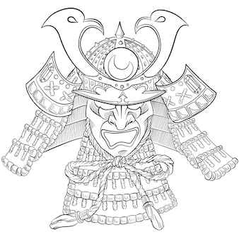 Samurai japan maske. japanischer druck mit samuraimaske.