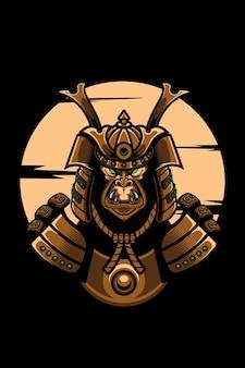Samurai japanische kunst t-shirt street wear design king kong tier