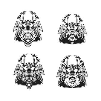 Samurai köpfe schwarz und weiß 2