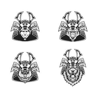 Samurai köpfe schwarz und weiß