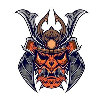 Samurai kopf auf qhite