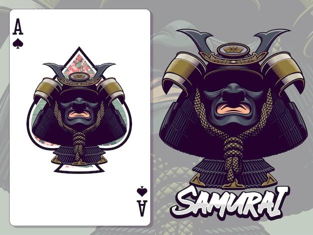 Samurai-kopf-illustration für pik-as-kartenentwurf