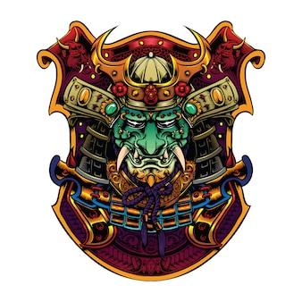 Samurai-kopf mit helmgrafik für merch-illustration
