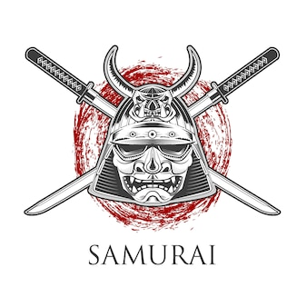 Samurai-krieger-maske mit katana-schwert