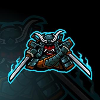 Samurai-krieger-maskottchen-logo-design für sport, gaming, team und t-shirt