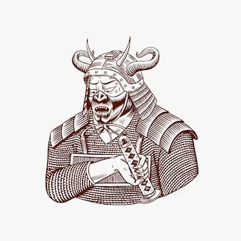 Samurai-krieger mit waffenskizze