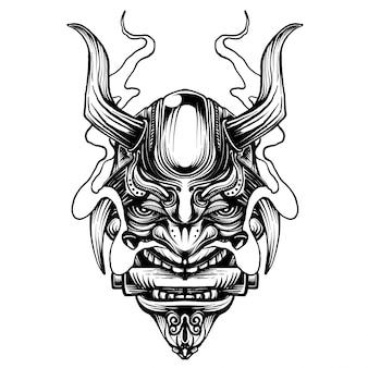 Samurai-kriegermaske. traditionelle rüstung des japanischen kriegers.