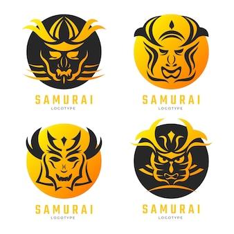 Samurai-logo-kollektion mit farbverlauf