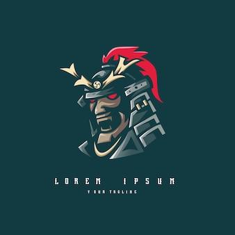 Samurai-logo mit moderner illustration