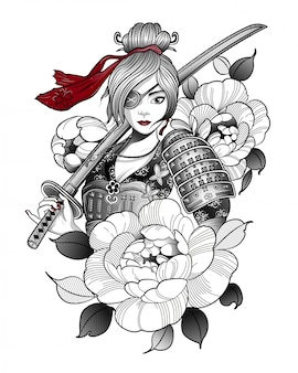 Samurai-mädchen in kampfausrüstung mit einem schwert