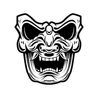 Samurai-maske auf weißem hintergrund. gestaltungselement für logo, label, emblem, schild, poster, t-shirt.