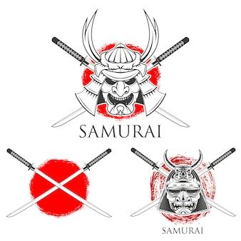 Samurai-maske. design-elemente