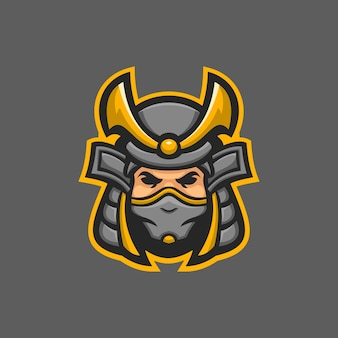 Samurai-maske kopf cartoon logo vorlage illustration. esport logo spiel premium-vektor