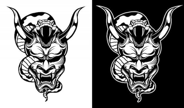 Samurai-maske mit schlangen