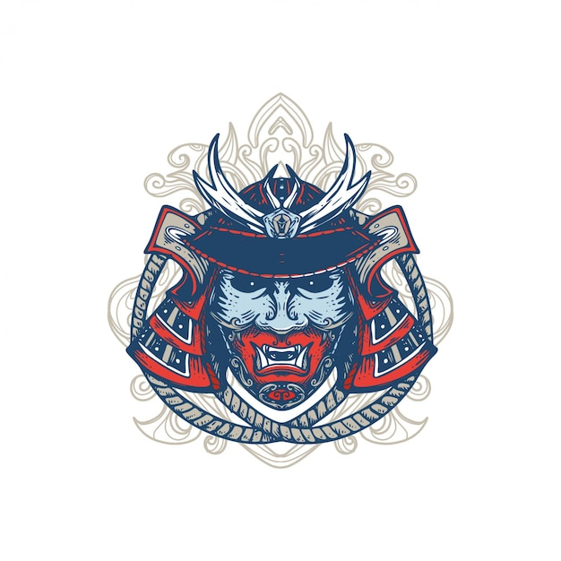 Samurai-maskenentwurf-illustrationsverzierungshintergrund