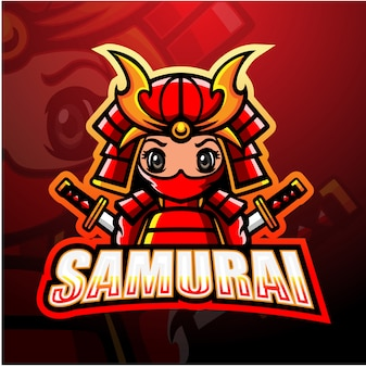 Samurai maskottchen esport illustration