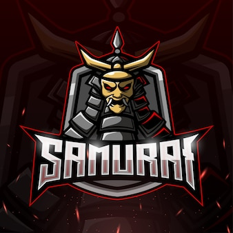 Samurai maskottchen esport illustration
