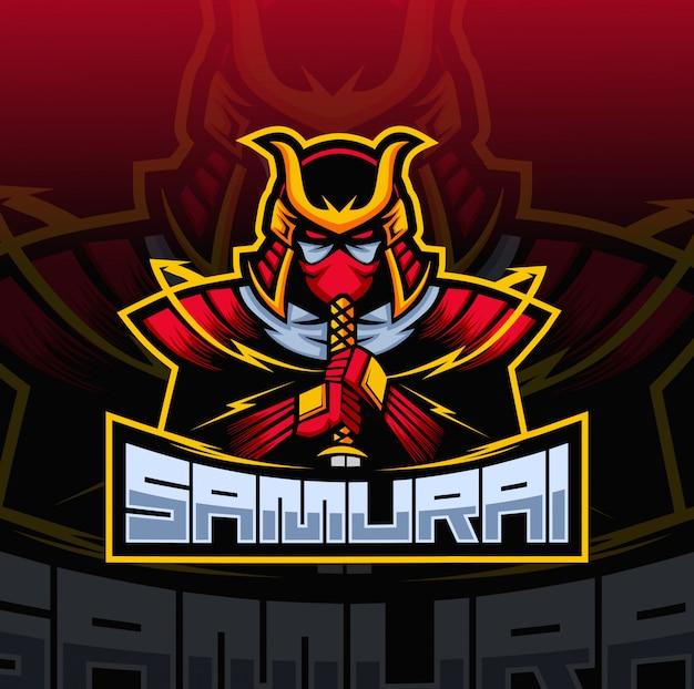 Samurai maskottchen esport logo