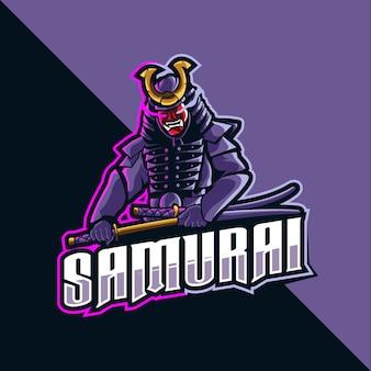 Samurai maskottchen logo esport