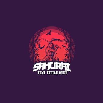 Samurai maskottchen logo vorlage
