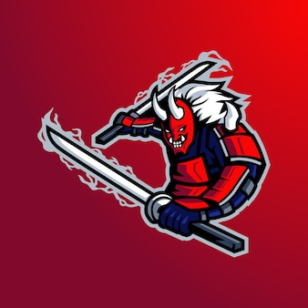 Samurai-maskottchen-logo