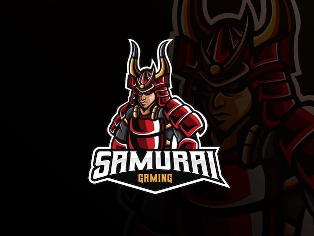 Samurai maskottchen sport logo