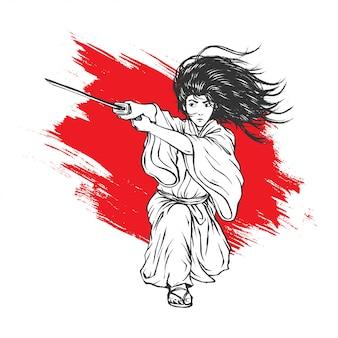 Samurai mit einem fabelhaften haar