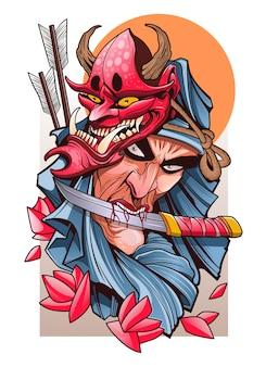 Samurai mit einem messer in den zähnen und maske