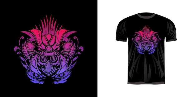 Samurai mit gasmaske für t-shirt design